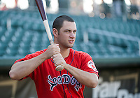 Portland SeaDogs left fielder Alex Hassan takes a few practice swings prior to Saturday night's game against the New Hampshire Fisher Cats.  (Karen Bobotas/for the Concord Monitor)