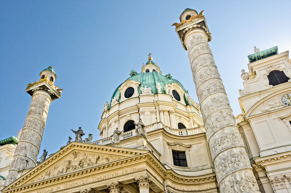 Detail of the Dome and pilars in St. Charles Church in Vienna.