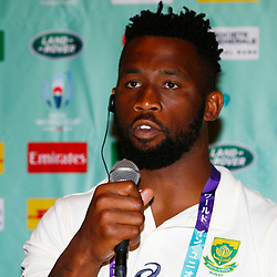 Siya Kolisi (c) during the Kagoshima training camp: Media conference,Official RWC 2019 Arrivals Media Conference – Head coach and captain, assistant coach and six players available for interviews Friday 13th September 2019 (Mandatory Byline -Steve Haag Sports Hollywoodbets)