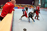 Graz, Austria - 2017 March 23: Third Place Floor Hockey Match SO Poland against SO St. Lucia while Special Olympics World Winter Games Austria 2017 at Convention Centre Messe Graz on March 23, 2017 in Graz, Austria.<br /> <br /> Mandatory credit:<br /> Photo by © Adam Nurkiewicz / Mediasport<br /> <br /> Adam Nurkiewicz declares that he has no rights to the image of people at the photographs of his authorship.<br /> <br /> Picture also available in RAW (NEF) or TIFF format on special request.<br /> <br /> Any editorial, commercial or promotional use requires written permission from the author of image.<br /> <br /> Image can be used in the press when the method of use and the signature does not hurt people on the picture.