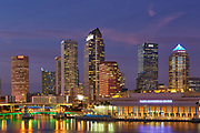 Tampa, Florida skyline after sunset