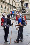 Tourists and pilgrims in Santiago de Compostela, Galicia, Spain