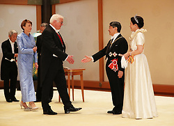 German President Frank-Walter Steinmeier and his wife Elke Budenbende greeted by Emperor Naruhito and Empress Masako ahead of a court banquet at the Imperial Palace on October 22, 2019 in Tokyo, Japan. Photo by Robin Utrecht/ABACAPRESS.COM