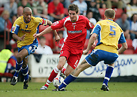 Photo: Rich Eaton.<br /> <br /> Swindon Town v Mansfield Town. Coca Cola League 2. 21/04/2007. Barry Corr centre, scorer of Swindons first goal attacks