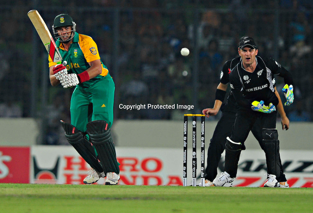 Brenden McCullam and Jacques Kallis during the ICC Cricket World Cup quarter final match between South Africa and New Zealand held at the Shere Bangla National Stadium, Mirpur, Bangladesh on the 25 March 2011..Photo by SPORTZPICS