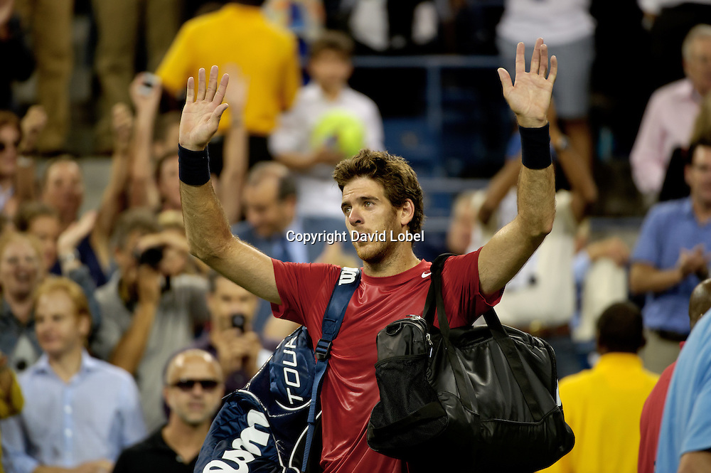 September 5, 2012: Argentina's Juan Martin Del Potro (ARG) was defeated by Novak Djokovic of Serbia (SRB) during their quarterfinal match on Day 11 of the 2012 U.S. Open Tennis Championships at the USTA Billie Jean King National Tennis Center in Flushing, Queens, New York, USA. (David Lobel / EQ Images)