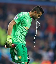 BIRMINGHAM, ENGLAND - Friday, August 14, 2015: Manchester United's Sergio Ramero spits out water during the Premier League match against Aston Villa at Villa Park. (Pic by David Rawcliffe/Propaganda)