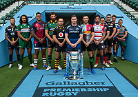 Football - 2019 / 2020 Gallagher Premiership Rugby - New Season Launch Media Photocall<br /> <br /> (From l to r), Worcester Warriors' Francois Hougaard, London Irish' Blair Cowan, Bristol Rugby's Nathan Hughes, Northampton Saints' Tom Wood, Wasps' Dan Robson, Sale Sharks' Chris Ashton, Harlequins' Mike Brown, Gloucester Rugby's Danny Cipriani, Saracens' Alex Goode, Exeter Chiefs' Don Armand, Bath Rugby's Rhys Priestland, Leicester Tigers' Tom Youngs,  at Twickenham.<br /> <br /> COLORSPORT/ASHLEY WESTERN