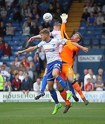 Matthew Gilks of Scunthorpe United (R) comes under pressure late in the game - Mandatory by-line: Jack Phillips/JMP - 02/09/2017 - FOOTBALL - Gigg Lane - Bury, England - Bury v Scunthorpe United - English Football League One