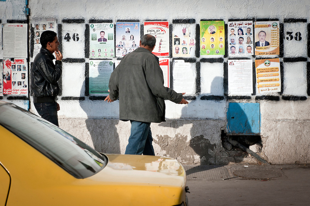 Tunis, Tunisia. Election campaign panels are seen all around Tunis, Sunday 16 October 2011.