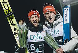 09.03.2020, Lysgards Schanze, Lillehammer, NOR, FIS Weltcup Skisprung, Raw Air, Lillehammer, Herren, Siegerehrung, im Bild 2. Platz Markus Eisenbichler (GER), 3. Platz Stephan Leyhe (GER) // 2nd placed Markus Eisenbichler of Germany 3rd placed Stephan Leyhe of Germany during the winner ceremony for the men's 2nd Stage of the Raw Air Series of FIS Ski Jumping World Cup at the Lysgards Schanze in Lillehammer, Norway on 2020/03/09. EXPA Pictures © 2020, PhotoCredit: EXPA/ JFK