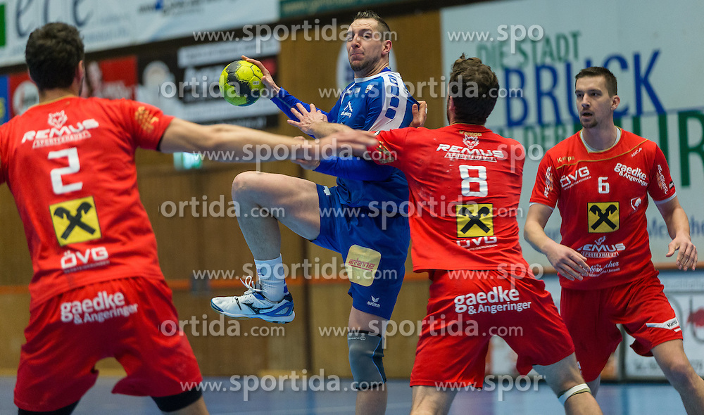 12.03.2016,Sporthalle Bruck an der Mur, Bruck an der Mur, AUT, HLA, HC ece bulls Bruck vs HSG Raiffeisen Baernbach/Koeflach, im Bild v.l.: Mate Halasz (Baernbach/Koeflach), Deni Gasperov (Bruck), Gabor Grebenar (Baernbach/Koeflach), Alen Kulanovic (Baernbach/Koeflach) // during the Handball League Austria match between HC ece bulls Bruck vs HSG Raiffeisen Baernbach/Koeflach at the sport Hall, Bruck an der Mur, Austria on 2016/03/12, EXPA Pictures © 2016, PhotoCredit: EXPA/ Dominik Angerer