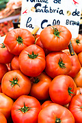 Tomatoes of Cantabria on sale in food market in Santander, Cantabria, Northern Spain