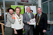Gombeen Jonathon Gunning with Galway City Mayor Cllr Terry O Flaherty Galway Bay FM and Chairperson Galway Gatherings Steering Group  Keith Finnegan, Miguel Barcelo from the Gombeen Theatre Co. and  Galway County Mayor Cllr Tom Welby    at Aras An Contae. Picture Andrew Downes..