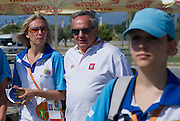 (C) Janusz Wesolowski with volounteers during 2011 Special Olympics World Summer Games Athens on June 27, 2011..The idea of Special Olympics is that, with appropriate motivation and guidance, each person with intellectual disabilities can train, enjoy and benefit from participation in individual and team competitions...Greece, Athens, June 27, 2011...Picture also available in RAW (NEF) or TIFF format on special request...For editorial use only. Any commercial or promotional use requires permission...Mandatory credit: Photo by © Adam Nurkiewicz / Mediasport