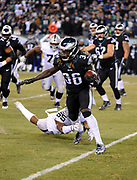 Dec 25, 2017; Philadelphia, PA, USA; Philadelphia Eagles running back Jay Ajayi (36) avoids the tackle of Raiders linebacker NaVorro Bowman (53) during a NFL football game at Lincoln Financial Field. The Eagles defeated the Raiders 19-10. Photo by Reuben Canales