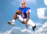 Parkview Panthers quarterback Jack Chambers leaps in the air for a portrait on Wednesday at Parkview High School in Lilburn. Chambers is a dual threat quarterback, who is not afraid to use his legs or arm to lead the Panthers to victory. (Staff Photo: David Welker)