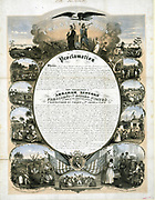 Proclamation of the Emancipation of African American slaves. Text surrounded by scenes of slavery from capture through sale, subjugation, work  and liberation. Coloured lithograph c1864.