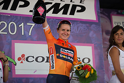 Megan Guarnier (USA) of Boels-Dolmans Cycling Team celebrates winning Stage 10 of the Giro Rosa - a 124 km road race, starting and finishing in Torre Del Greco on July 9, 2017, in Naples, Italy. (Photo by Balint Hamvas/Velofocus.com)