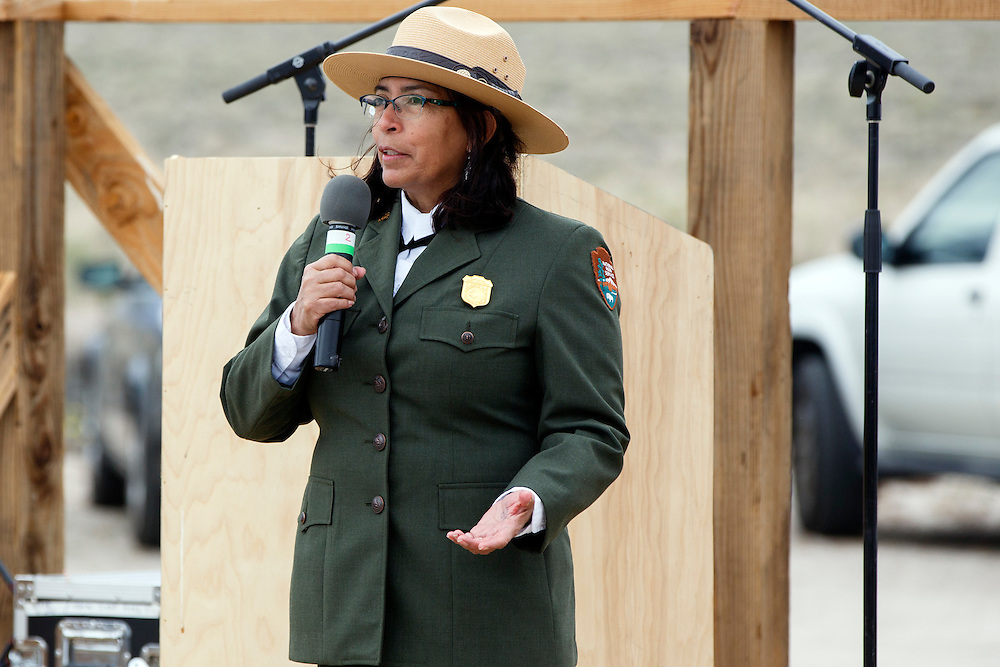 Manzanar National Historic Site Superintendent Bernadette Johnson speaks at the Manzanar National Historic Site during the 47th Annual Manzanar Pilgrimage on Saturday, April 30, 2016 in the Owens Valley of Inyo County, Calif. Now a National Historic Site, the Manzanar War Relocation Center was one of ten camps where Japanese American citizens and resident Japanese aliens were interned during World War II. Photo by Patrick T. Fallon / Special to the National Parks Conservation Association
