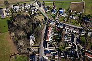 Nederland, Noord-Brabant, Gemeente Cuijk,  07-03-2010; het dorpje Katwijk met Martinuskerk. Naast de kerk de Lourdesgrot (Mariagrot).luchtfoto (toeslag), aerial photo (additional fee required).foto/photo Siebe Swart