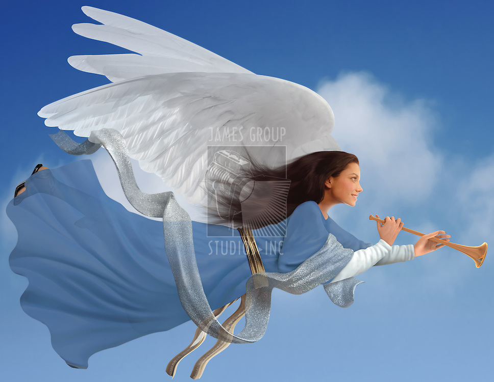 Angel with trumpet on isolated on white baackground with clipping path