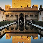 Court Myrtles Patio de Comares reflection, Granada, Spain (December 2006)
