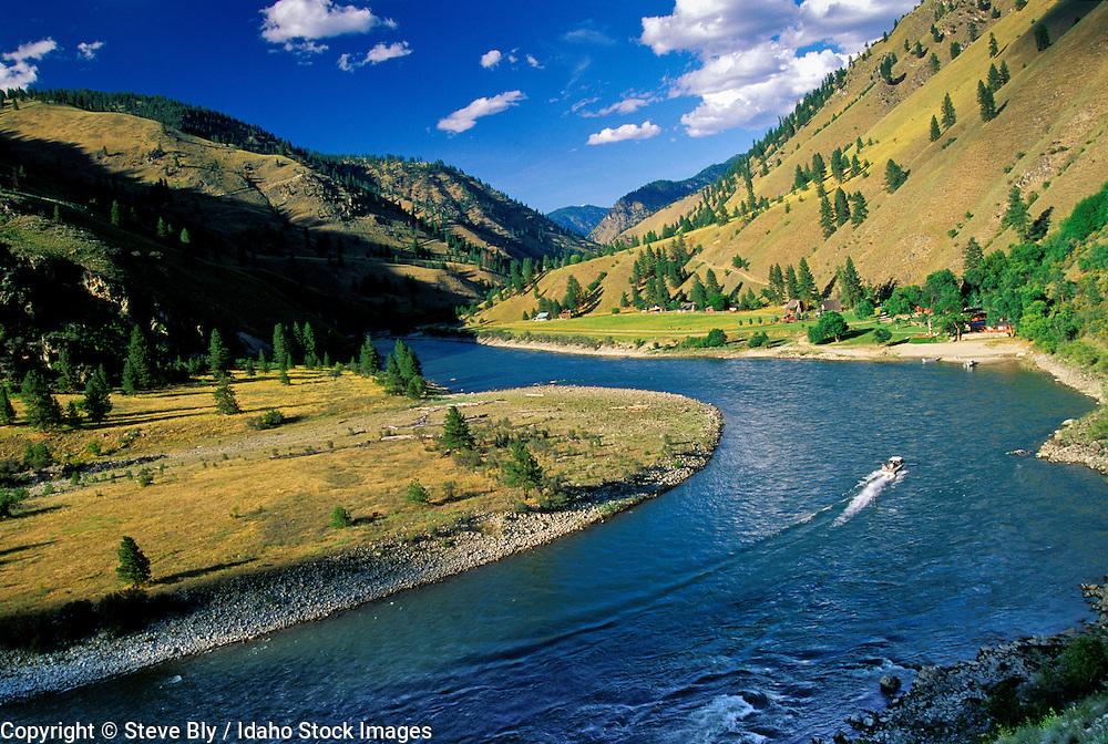 USA IDAHO Jet boat navigating up the Main Salmon River toward Mackay Bar Ranch River of No Return Wilderness