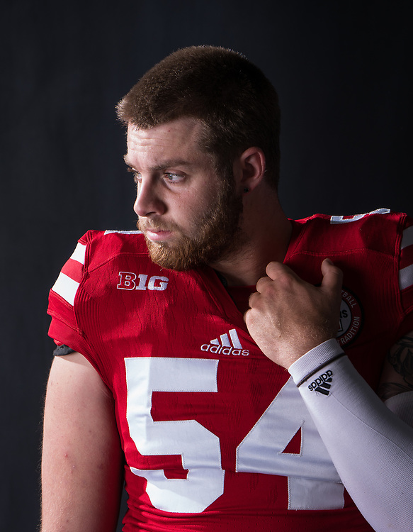 Jordan Ober #54 during a portrait session at Memorial Stadium in Lincoln, Neb. on June 7, 2017. Photo by Paul Bellinger, Hail Varsity