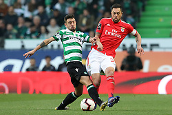 February 3, 2019 - Lisbon, PORTUGAL, Portugal - Bruno Fernandes of Sporting (L) vies for the ball with Jardel of SL Benfica (R) during the League NOS 2018/19 footballl match between Sporting CP vs SL Benfica. (Credit Image: © David Martins/SOPA Images via ZUMA Wire)