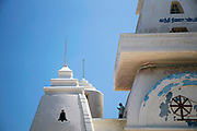KANYAKUMARI, INDIA - 2nd October 2019 - This year marked the 150th anniversary of Mahatma Gandhi's birthday. In Kanyaumari - the southernmost point of India - a memorial mandapam was built in his honour and held some of his ashes before they were scattered at the point where three oceans meet - a place which Gandhi felt was unequalled in this world. Standing 79 feet tall (in honour of Gandhi's age at his death) the mandapam was specially designed so sunlight will fall on the exact place where is ashes were kept at noon on the day of his birthday. Many people attend the event each year and try to reach out and touch the light as it falls on the sacred spot.