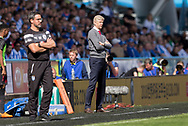David Wagner (left) of Huddersfield Town and Arsene Wenger of Arsenal stand on the touchline during the Premier League match at the John Smiths Stadium, Huddersfield<br /> Picture by James Wilson/Focus Images Ltd 07522 978714<br /> 13/05/2018