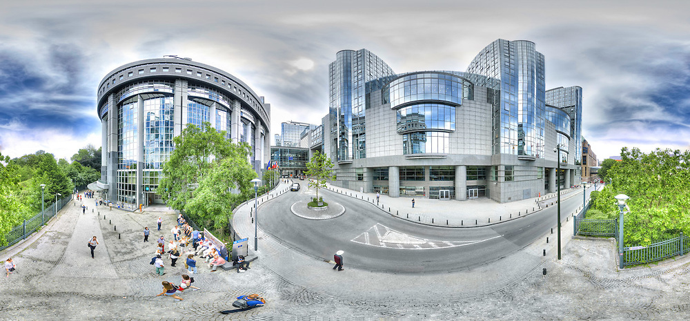 Panoramic View of PHS and ASP buildings, European Parliament in Brussels