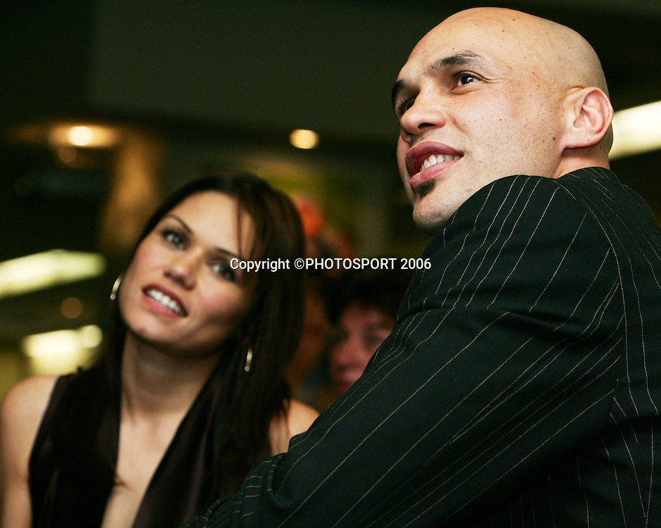 Warriors player Awen Guttenbeil and his wife Natasha during the testimonial lunch held for New Zealand Warrior player Awen Guttenbeil at the Ellerslie Convention Centre in Auckland, New Zealand on Thursday 20 July 2006. Photo: Tim Hales/PHOTOSPORT