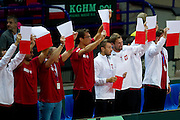 (L) Jerzy Janowicz &amp; (C) Michal Przysiezny &amp; (R) Lukasz Kubot all from Poland while men's double during the BNP Paribas Davis Cup 2013 between Poland and Australia at Torwar Hall in Warsaw on September 14, 2013.<br /> <br /> Poland, Warsaw, September 14, 2013<br /> <br /> Picture also available in RAW (NEF) or TIFF format on special request.<br /> <br /> For editorial use only. Any commercial or promotional use requires permission.<br /> <br /> Photo by &copy; Adam Nurkiewicz / Mediasport