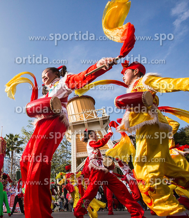 Members of Ansai waist drum and Luochuan yangko dance team from China perform at Disneyland, Los Angeles, California, the United States, on Feb. 21, 2015, to celebrate Chinese lunar new year. EXPA Pictures &copy; 2015, PhotoCredit: EXPA/ Photoshot/ Zhao Hanrong<br /> <br /> *****ATTENTION - for AUT, SLO, CRO, SRB, BIH, MAZ only*****