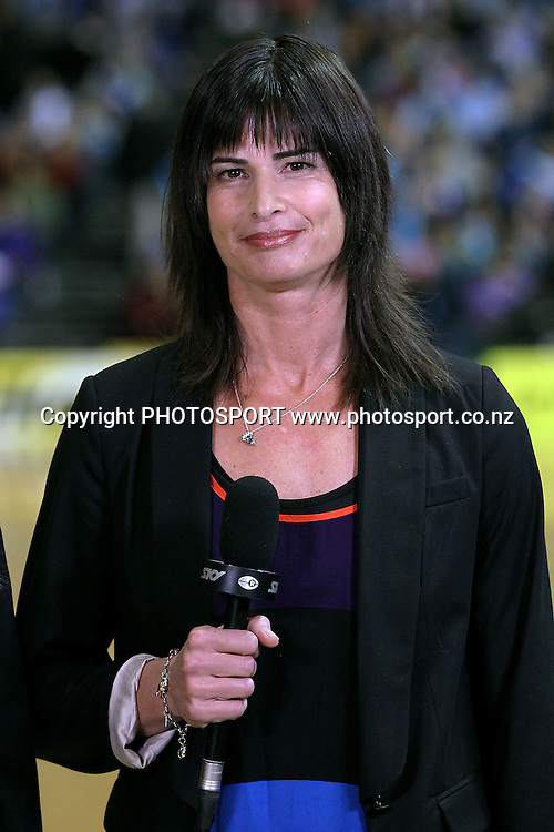 Sky TV presenter Kathryn Harby-Williams. ANZ Netball Championship, Northern Mystics v Canterbury Tactix, Trusts Stadium, Auckland, New Zealand. Sunday 27th May 2012. Photo: Anthony Au-Yeung / photosport.co.nz