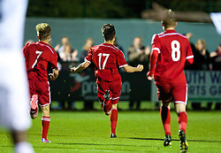 NEWPORT, WALES - Thursday, September 25, 2014: Wales' Liam Cullen celebrates scoring the first goal against France during the Under-16's International Friendly match at Dragon Park. (Pic by David Rawcliffe/Propaganda)