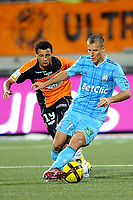 FOOTBALL - FRENCH CHAMPIONSHIP 2010/2011 - L1 - FC LORIENT v OLYMPIQUE MARSEILLE - 15/05/2011 - PHOTO PASCAL ALLEE / DPPI - BENOIT CHEYROU (OM) / FRANCIS COQUELIN (FCL)