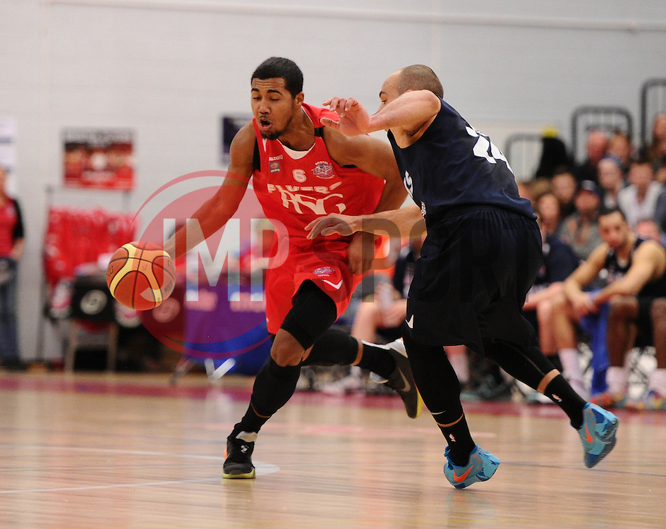 Bristol Flyers' Dwayne Lautier-Ogunleye drives forward  - Photo mandatory by-line: Joe Meredith/JMP - Mobile: 07966 386802 - 11/04/2015 - SPORT - Basketball - Bristol - SGS Wise Campus - Bristol Flyers v Glasgow Rocks - British Basketball League
