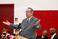 David Ponitz speaks during the dedication of Wright Brothers PK-8 School in Dayton and celebration of the completion of the 10 year Dayton Public Schools building project, Sunday, January 8, 2012.  Ponitz was, according to DPS superintendent Lori Ward, 'was the chairman of the bond levy that the voters approved in 2002.'