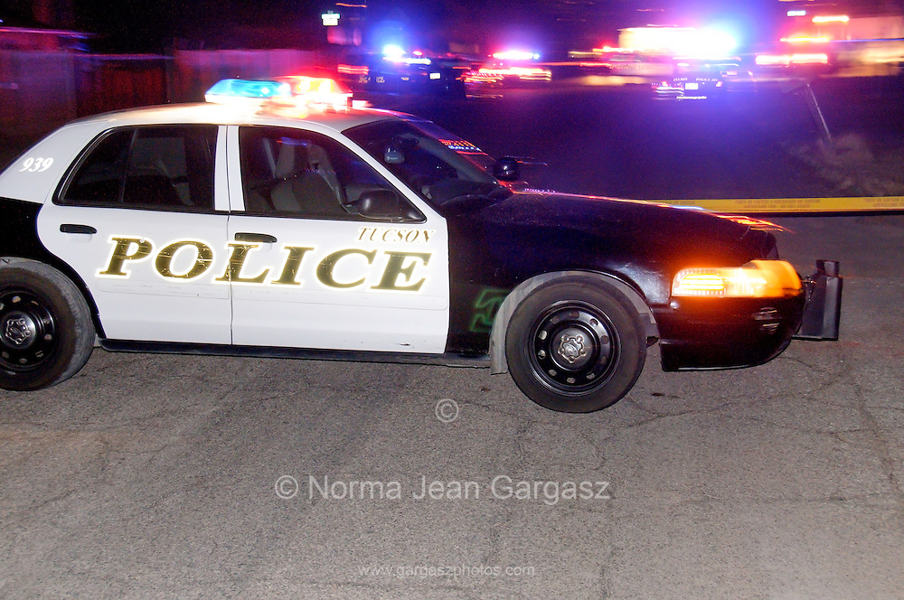 Police respond to the homicide of Enrique Bracamonte, 30 ,who was fatally shot during an exchange of gunfire at a party where narcotics were used on June 28, 2016, in the 3100 Block of North Richey Blvd.Tucson, Arizona, USA