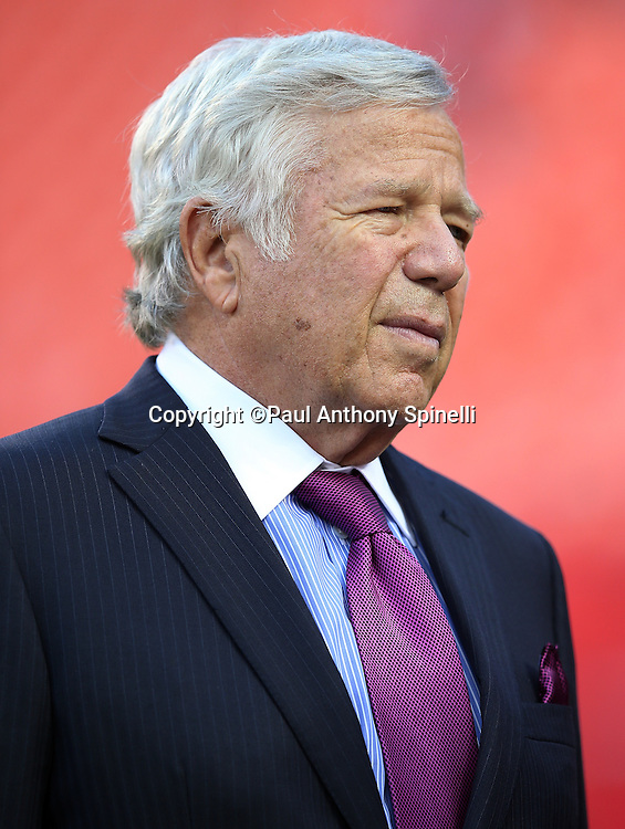 New England Patriots owner Robert Kraft makes a visit to the field before the NFL week 4 regular season football game against the Kansas City Chiefs on Monday, September 29, 2014 in Kansas City, Mo. The Chiefs won the game 41-14. ©Paul Anthony Spinelli