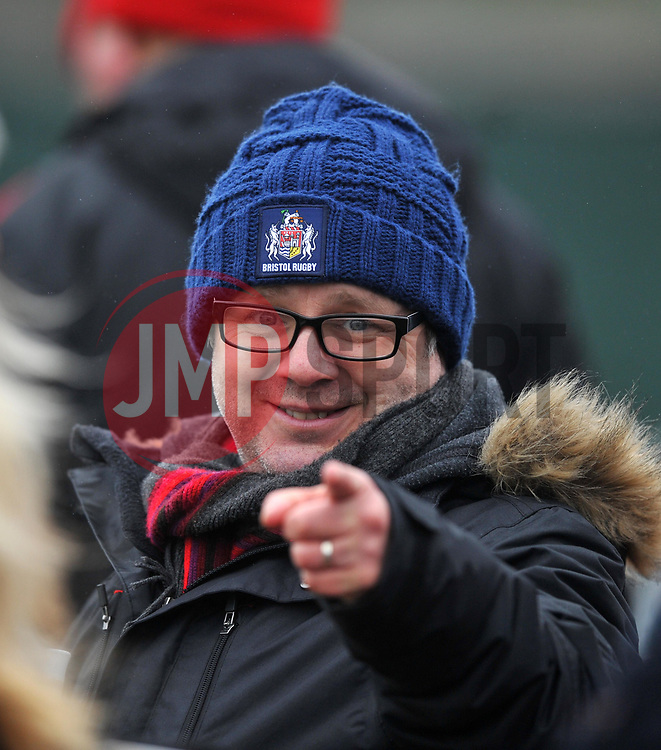 A rugby supporter enjoying the Women's FA Cup at Stoke Gifford Stadium - Mandatory by-line: Paul Knight/JMP - 19/03/2017 - FOOTBALL - Stoke Gifford Stadium - Bristol, England - Bristol City Women v Millwall Lionesses - Women's FA Cup