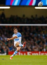 Argentina Fly-Half Nicolas Sanchez kicks a Penalty - Mandatory byline: Rogan Thomson/JMP - 07966 386802 - 18/10/2015 - RUGBY UNION - Millennium Stadium - Cardiff, Wales - Ireland v Argentina - Rugby World Cup 2015 Quarter Finals.
