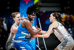 Shante Evans of Slovenia vs Antonia Delaere of Belgium  during basketball match between Women National teams of Belgium and Slovenia in the Qualification for the Quarter-Finals of Women's Eurobasket 2019, on July 2, 2019 in Belgrade Arena, Belgrade, Serbia. Photo by Vid Ponikvar / Sportida