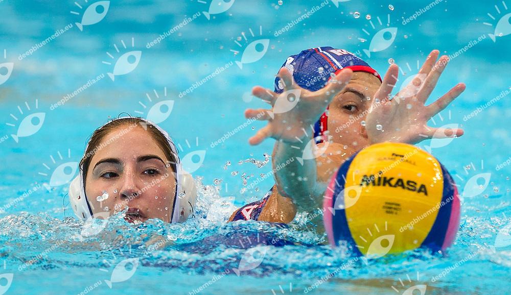 GRE vs RUS<br /> Greece (White) - Russia (Blue)<br /> 5 th - 8th<br /> PLEVRITOU Eleftheria RUS<br /> PROKOFYEVA Ekaterina (C) GRE<br /> Day 13 05/08/2015<br /> Waterpolo Women<br /> XVI FINA World Championships Aquatics<br /> Kazan Tatarstan RUS July 24 - Aug. 9 2015 <br /> Photo Pasquale Mesiano/Deepbluemedia/Insidefoto