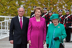 Lensmen Photographic Agency in Dublin, Ireland.<br /> The Queen and Prince Phillip visit Aras an Uachtarain, welcomed by President Mary MacAleese