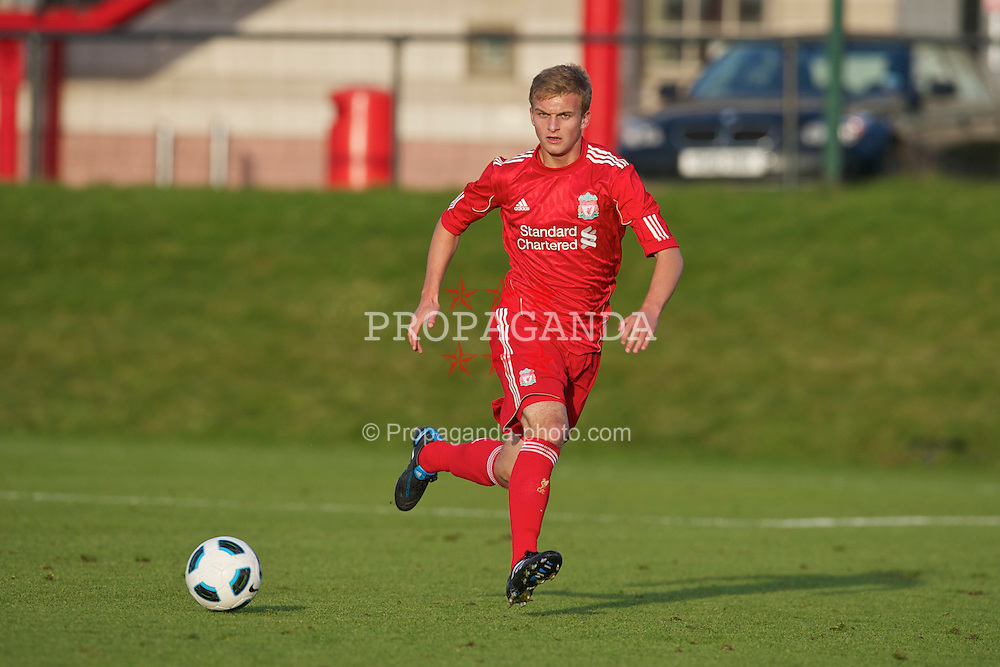 KIRKBY, ENGLAND - Tuesday, November 16, 2010: Liverpool's Matthew McGiveron in action against Blackpool during the FA Premiership Reserves League (Northern Division) match at the Kirkby Academy. (Pic by: David Rawcliffe/Propaganda)