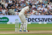 James Anderson of England clips the ball behind but doesn't run during the International Test Match 2019 match between England and Australia at Edgbaston, Birmingham, United Kingdom on 3 August 2019.